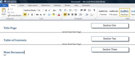 word section sections headers and footers page numbers margins