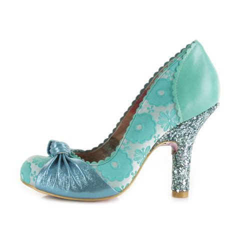 womens irregular choice smarty mint blue high heel