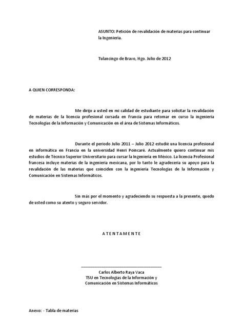 Carta Revalidacion de Materias