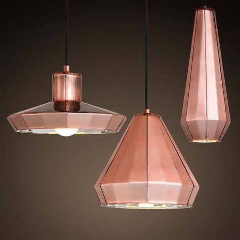 copper and glass pendant light modern chic glass copper mirror shade pendant light with