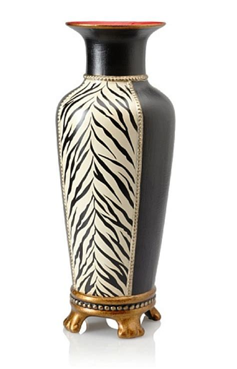 Zebra Vases by Zebra Vase Black White Painted Zebra Stripes With