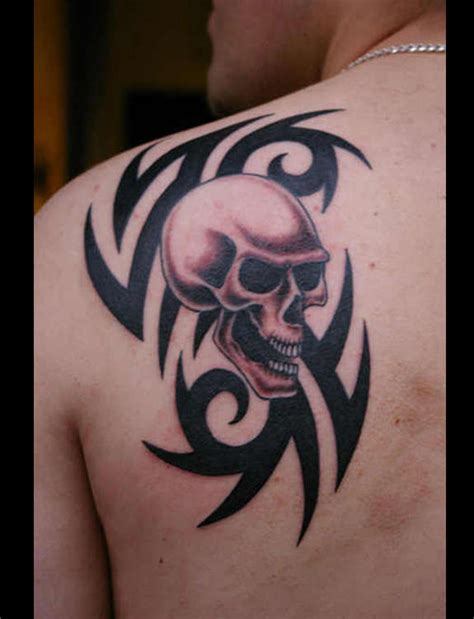tribal back and shoulder tattoos skull images designs