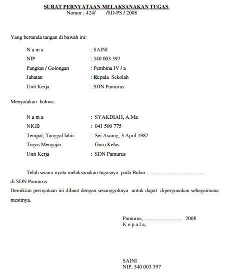contoh surat melaksanakan tugas guru kelas sd mi yang
