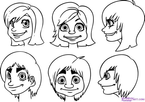 drawing doodle characters how to draw faces step by step faces