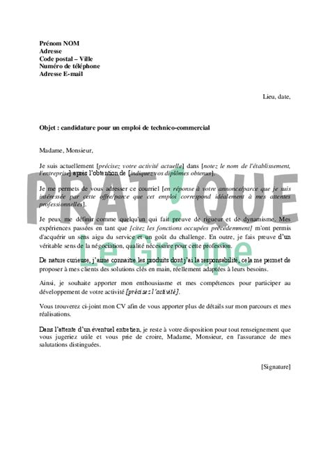 Exemple De Lettre De Motivation Commercial Lettre De Motivation Pour Un Emploi De Technico Commercial Pratique Fr