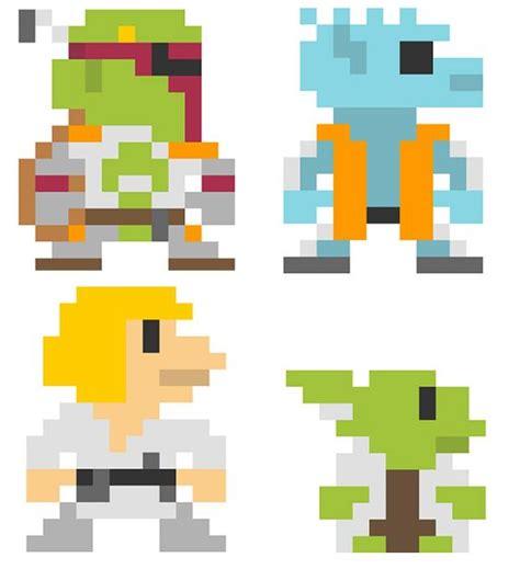 pixel wars star wars boba fett greedo luke skywalker yoda pixel