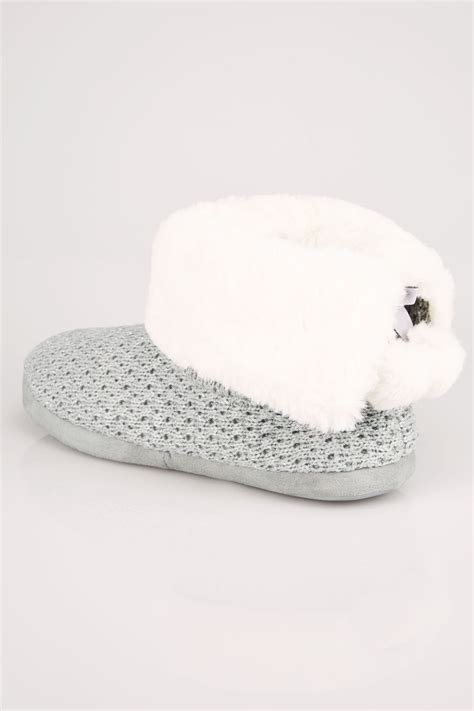 boat show voucher codes grey knitted slipper boot with faux fur lining wide fit