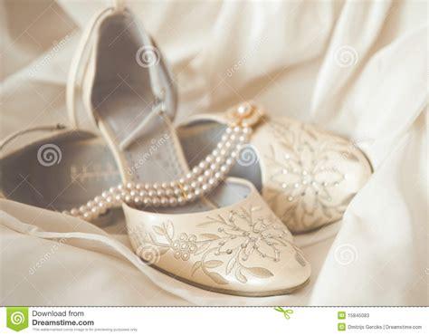 beautiful luxury white wedding shoes stock photos image