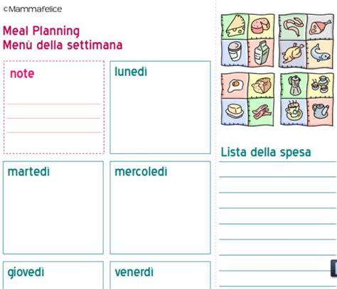 tabella alimentare settimanale come organizzare un menu settimanale mamma felice