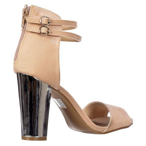 beige strappy high heels shoekandi high back strappy sandals peep toe block heels