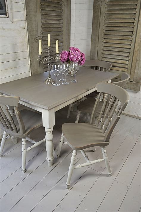 grey white shabby chic dining table with 4 chairs