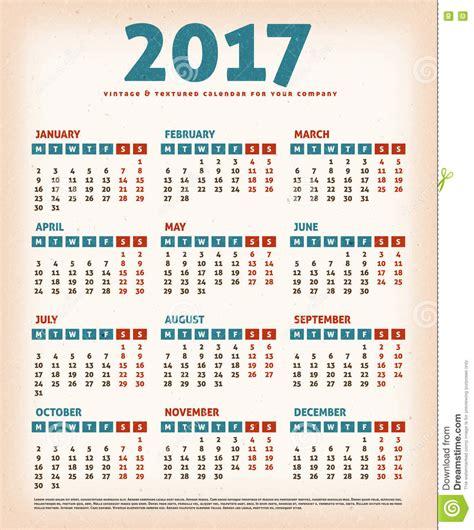 Calendario Retro Calendario 2017 Dise 241 O Vintage Ilustraci 243 N