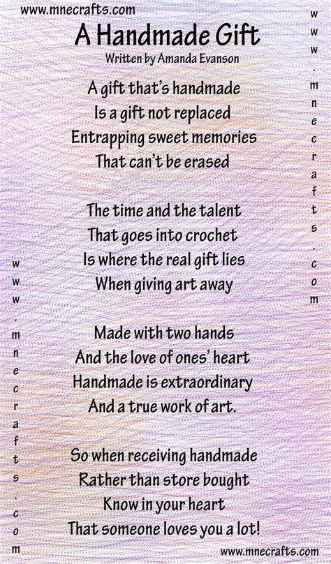 poems about gifts manda s crochet patterns a handmade gift a poem