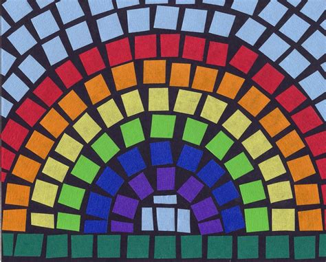 idea for tile art working mosaic tape rainbow art projects for kids