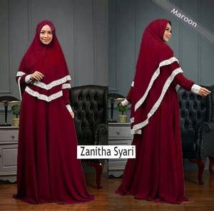 Gamis Pakaian Syari Latifa Syari Maroon Murah setelan baju gamis syari muslimah wanita modern kombinasi renda model terbaru