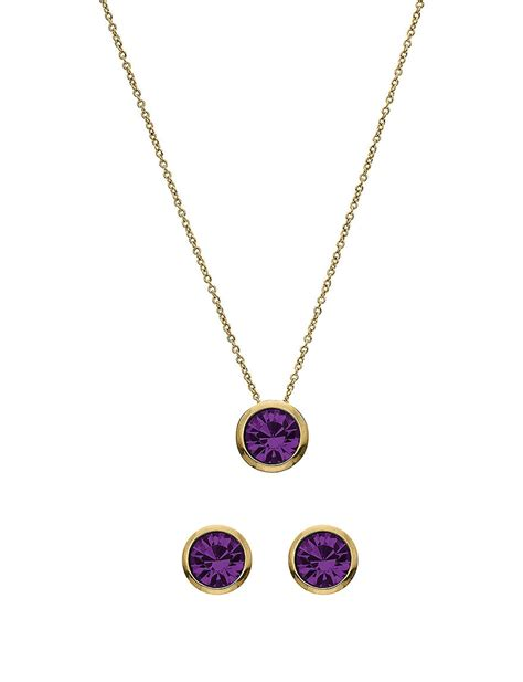 5th luxe 10mm amethyst swarovski 14k gold