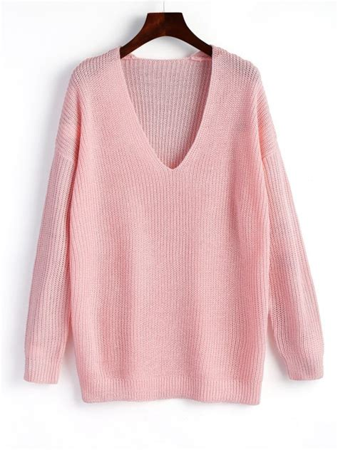 plain neck sweater pullover plain v neck sweater pink sweaters one size zaful