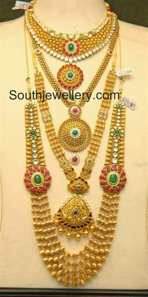 New Gold On The Design Collection by Malabar Gold Antique Necklace And Gundla Mala Collections