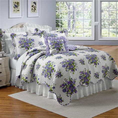 Violet Bedding Sets Beautiful Lavender Purple Violets Floral Size Quilt Bed Set New Home Decor