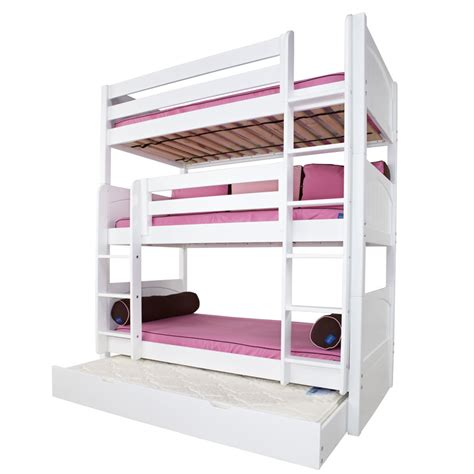 Three Bed Bunk Beds Maxtrix Holy Bunk Bed In White With Panel Bed Ends 850