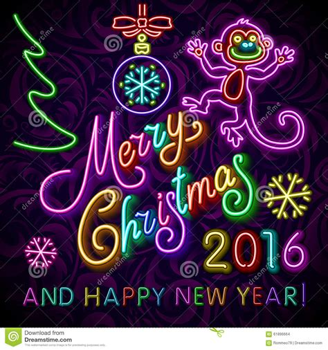 new year element sign vector illustration of 2016 new year outline neon light