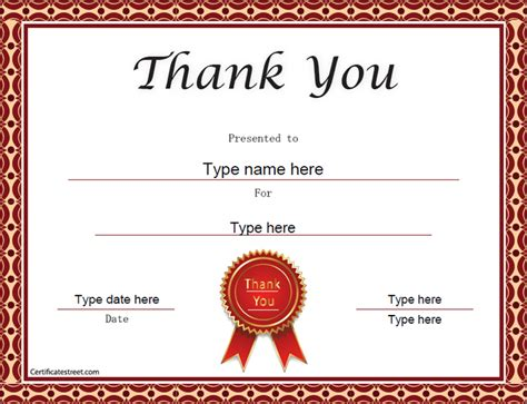 thank you certificate templates certificate free award certificate templates no