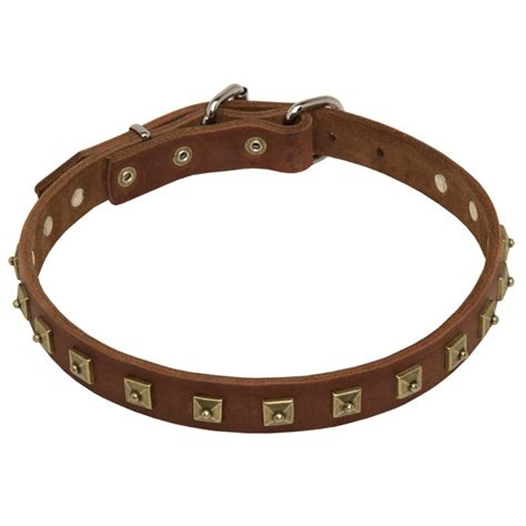 Handcrafted Collars - handcrafted 1 row square studded leather collar