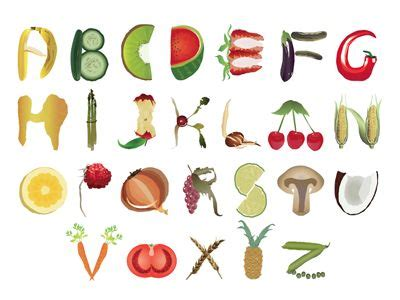 fruit 7 letters dribbble fruit and vegetable alphabet by nada