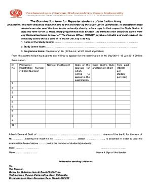 Ycmou Mba Admission by Ycmou Repeater Form Fill Printable