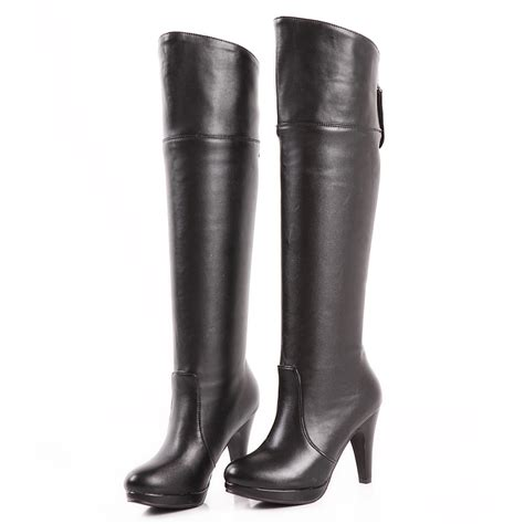 brown the knee high heel boots black brown fashion shoes synthetic leather high