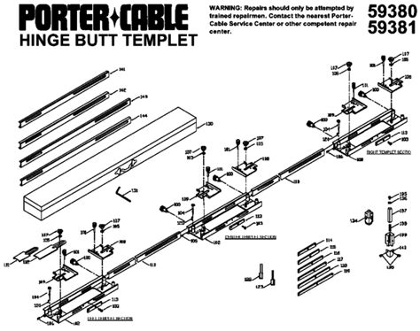 porter cable 59381 hinge butt template kit type 1 parts