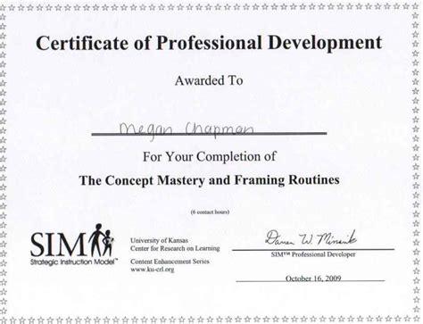 professional development certificate template professional development certificate template development