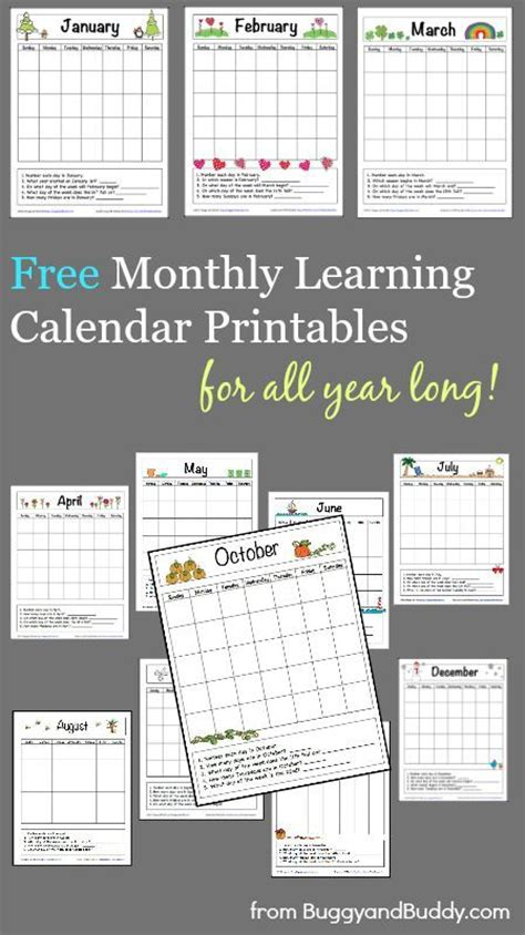 printable calendar classroom 12 free monthly learning calendar printables