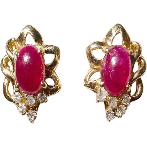 2 2 Ct Ruby Top Blood beautiful ruby and earrings 14kt yellow gold