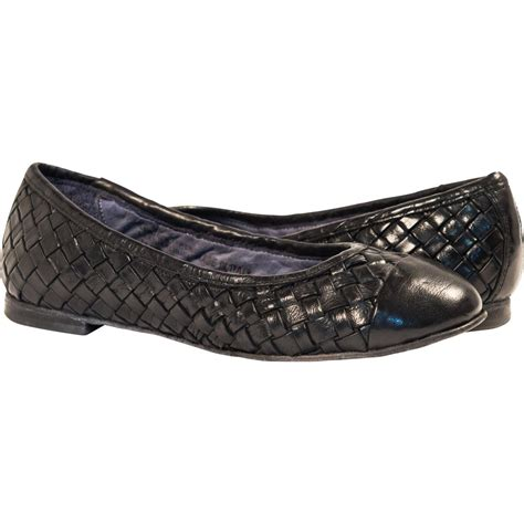 dip dyed navy blue woven leather ballerina flats