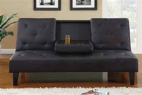 Leather Futon Sofa Black Leather Button Tufted Style Adjustable Futon Sofa Bed