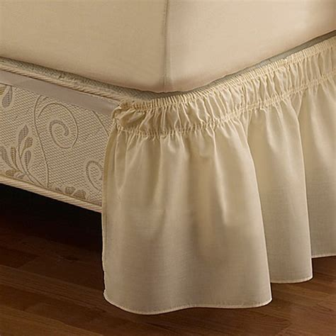 buy ruffled king solid adjustable bed skirt in ivory from bed bath beyond