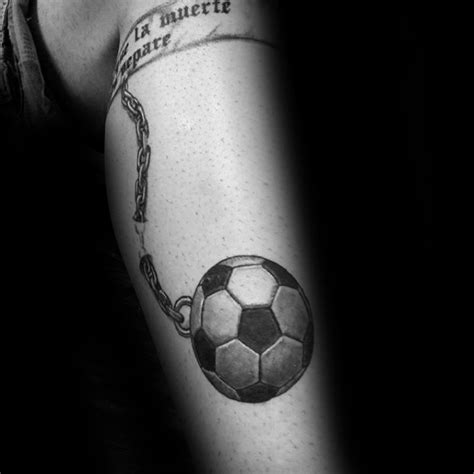 ball and chain tattoo 90 soccer tattoos for sporting ink design ideas