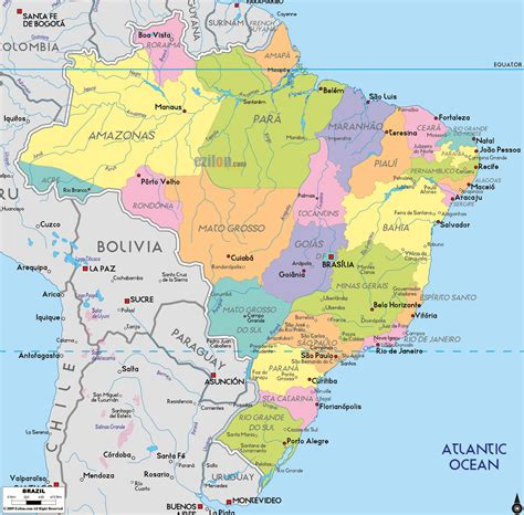 political map of maps of brazil map library maps of the world