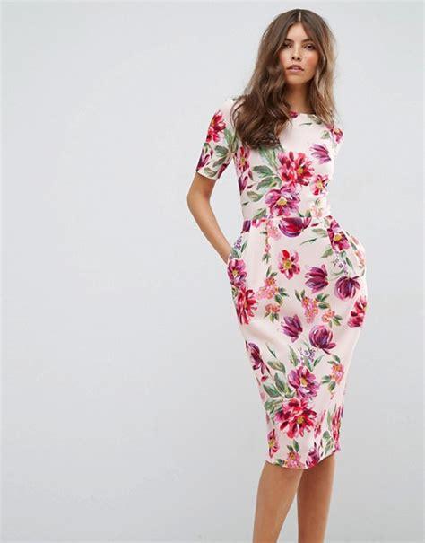 Painted Rhea Midi Dress asos asos midi wiggle dress in painted floral print