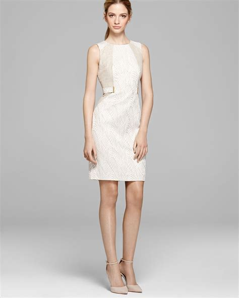 calvin klein dress sleeveless print in white latte ivory