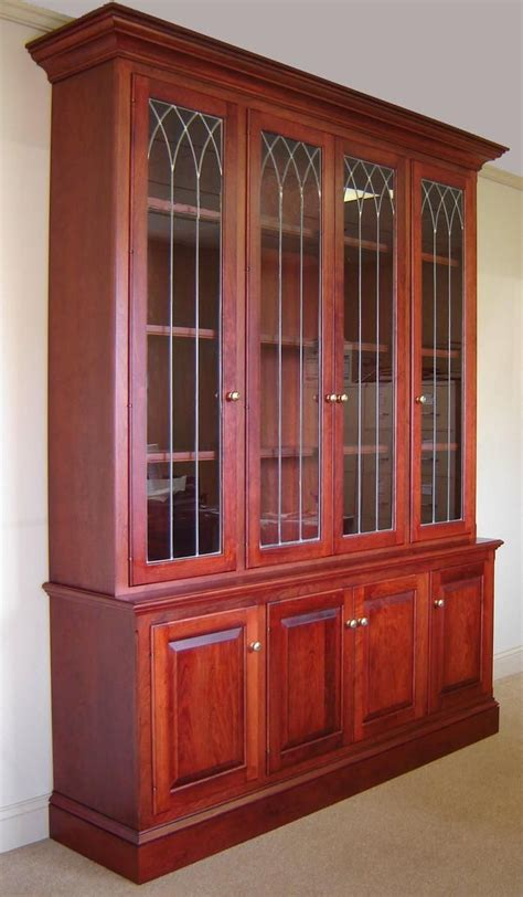 Cherry Bookcase With Glass Doors Custom Made Cherry Bookcase W Leaded Glass Doors By Odhner Odhner Woodworking Inc