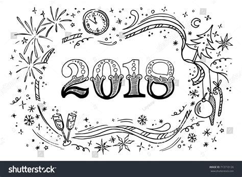new doodle doodles 2018 new stock vector 713710126