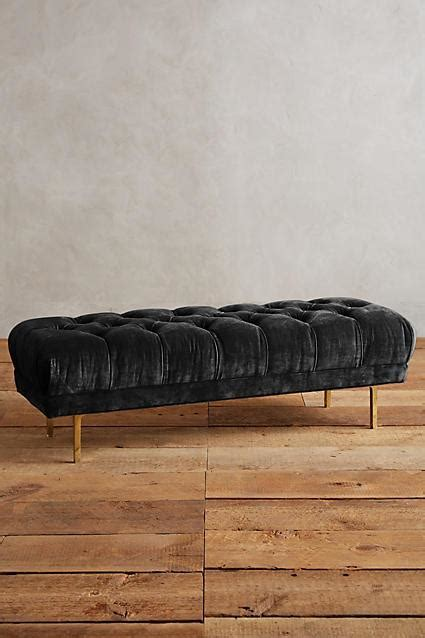 black velvet tufted bench rider blue velvet gold caign bench