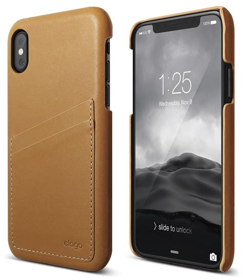 genuine leather for iphone xs brown elago slg design