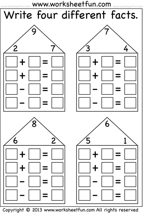 search results for addition fact family house template