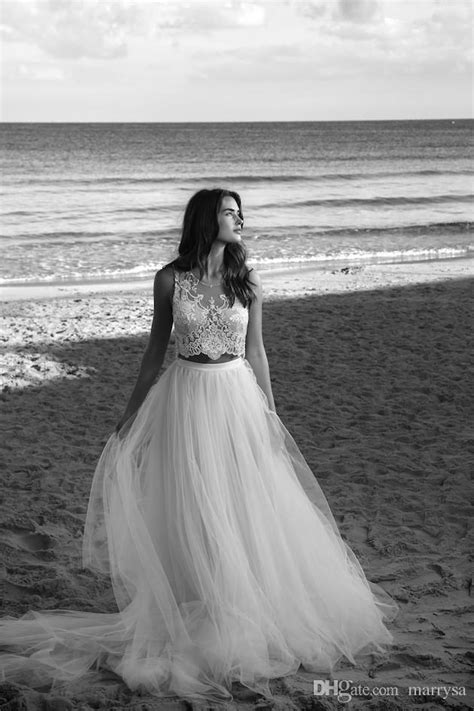 Discount White Two Pieces Boho Wedding Gowns Sheer Lace Top Simple Cheap Beach Bohemian Bridal