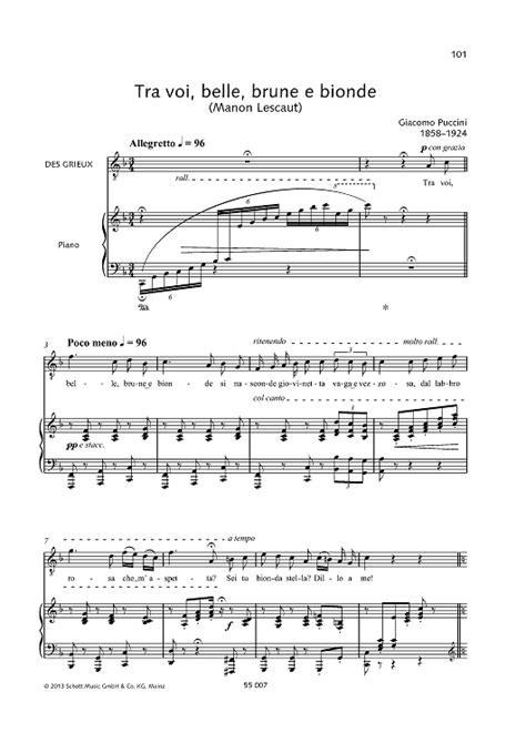 manon lescaut sheet music by giacomo puccini sheet music plus giacomo puccini tra voi belle brune e bionde from manon lescaut sheet music