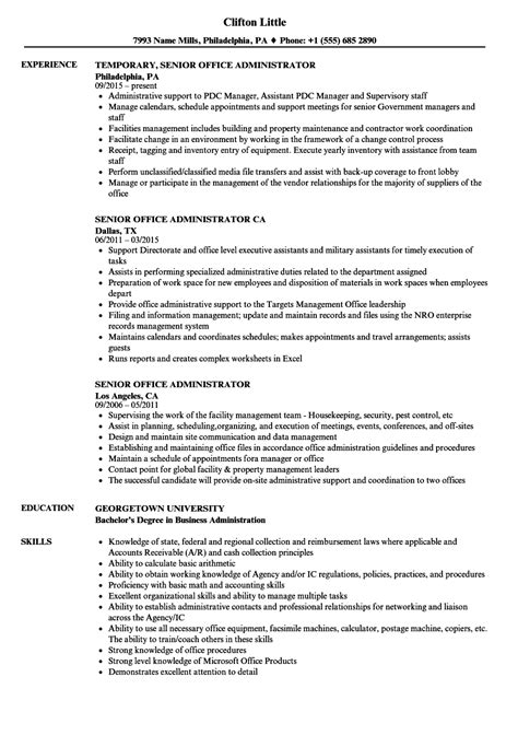 Office Administrator Resume by Senior Office Administrator Resume Sles Velvet
