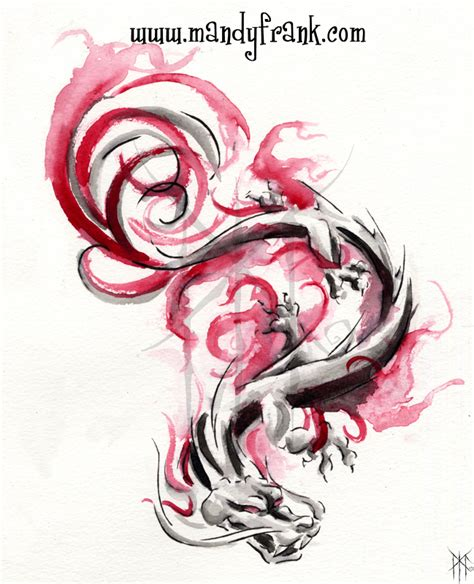 pink dragon tattoo designs watercolor design by milui on deviantart